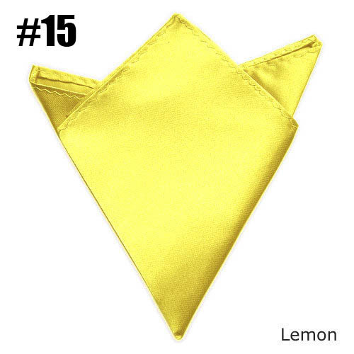 Men Solid Color Handkerchief  Pocket Square Lemon Weding Satin