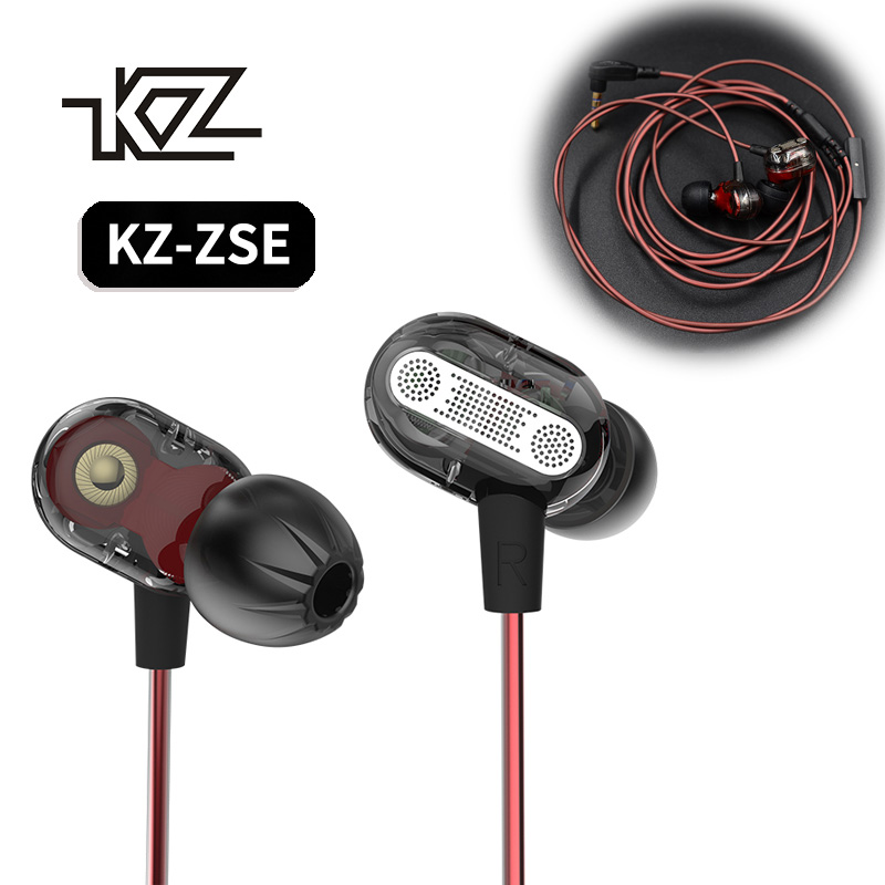 KZ ZSE Earphones Original Dynamic Dual Driver In Ear Audio Monitors Headset Noise Isolating HiFi Music Sports Earbuds