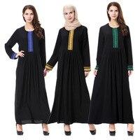 New Design Elegant Black Muslim Robe Women Dubai Abaya Caftan Kaftan Casual Arab Garment Muslim Lady Long Maxi Dress CN 068
