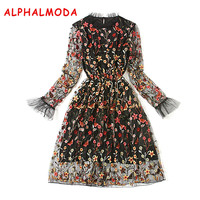 ALPHALMODA 2017 Autumn Ladies Graceful Embroidered Floral Dress Long sleeve Elastic Waist Ball gown Party Vestidos