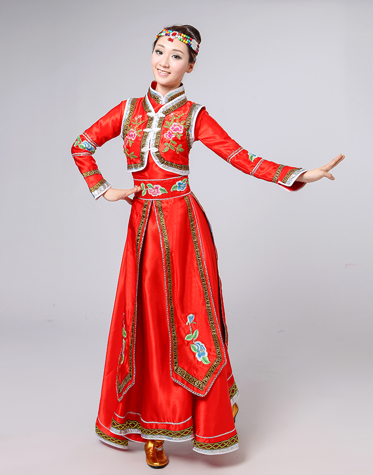 Brand New Ladies Mongolian Top Bowl Dance Performance Costume Female Red Dress Stage Performance Clothing Blue Mongolian Dress