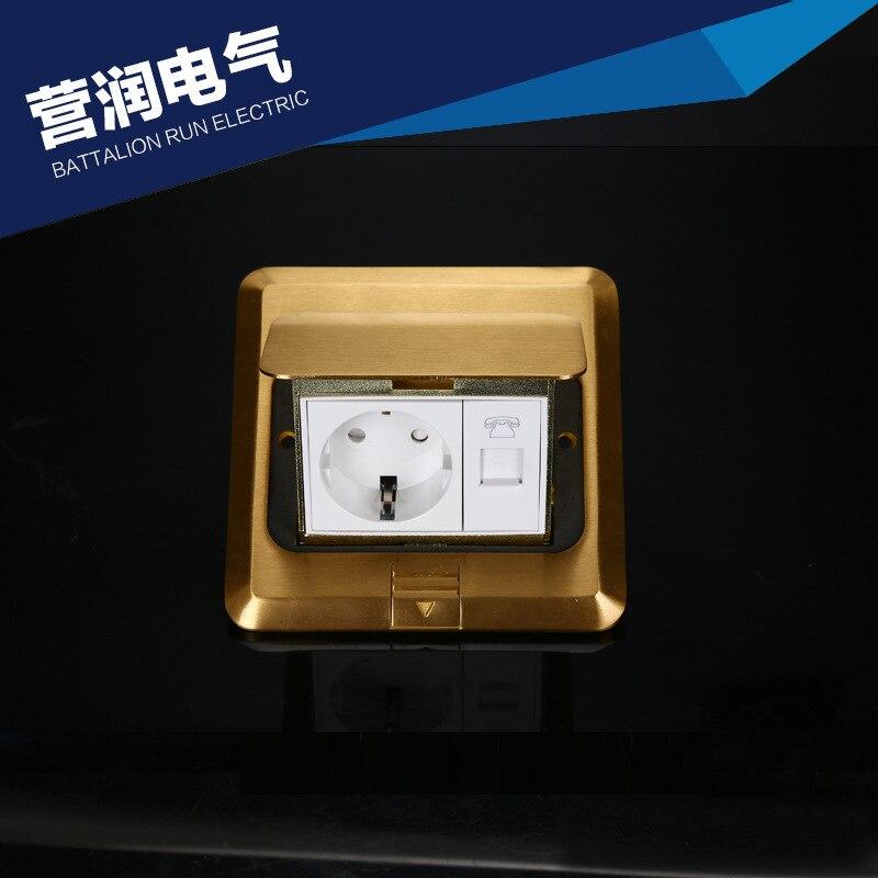 Européenne or pop-up étage socket Allemand prise avec prise téléphonique 250 V/16A