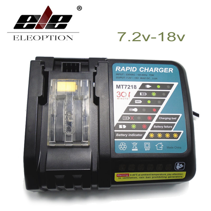 ElEOPTION Power Tool Li-Ion Battery Charger Replacement for Makita 7.2V to 18V BL1830 BL1815 BL1430 DC14SA DC18SC DC18RC DC18RA dawupine dc18rct li ion battery charger 3a 6a charging current for makita 14 4v 18v bl1830 bl1430 dc18rc dc18ra power tool