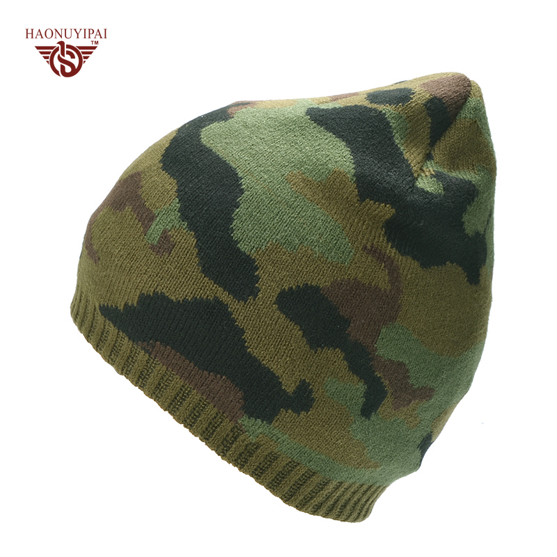 HNYP Winter Skullies Beanies Warm Camouflage Knitted Hats For Unisex Fashion Double Layer Plus Flannel Caps Outdoor Ski Beanies skullies
