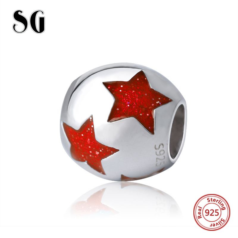 SG original Charms red color star romantic beads silver 925 Fit authentic pandora Charm Bracelets jewelry accessory making Gift