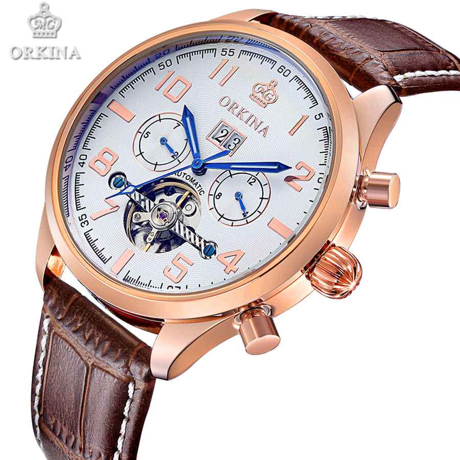 Skeleton Tourbillon Mechanical Watch Men Automatic Classic Rose Gold Leather Mechanical Wrist Watches Reloj Hombre 2017 NEW 2017 new top skeleton tourbillon mechanical watch automatic men classic rose gold leather mechanical wrist watches reloj hombre