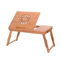 US 53cm Fashionable Sunflower Adjustable Bamboo Computer Desk Laptop Table Dropshipping