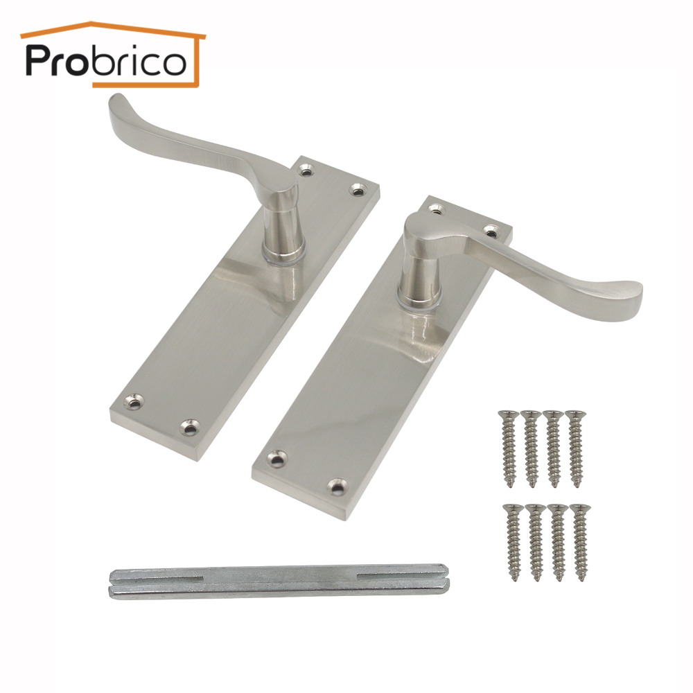 Probrico Mortise Lockset European Zinc Alloy Passage Lock Adjustable Keyless Lever Door Locks Brushed Hardware For Corridor