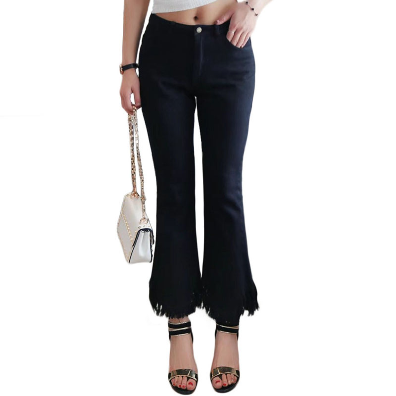 women flare jeans Vintage High Waist bell bottom skinny jeans female deep blue solid wide leg Black denim pants young lady anne klein new deep black slim leg ponte director women s 2 dress pants $89 361