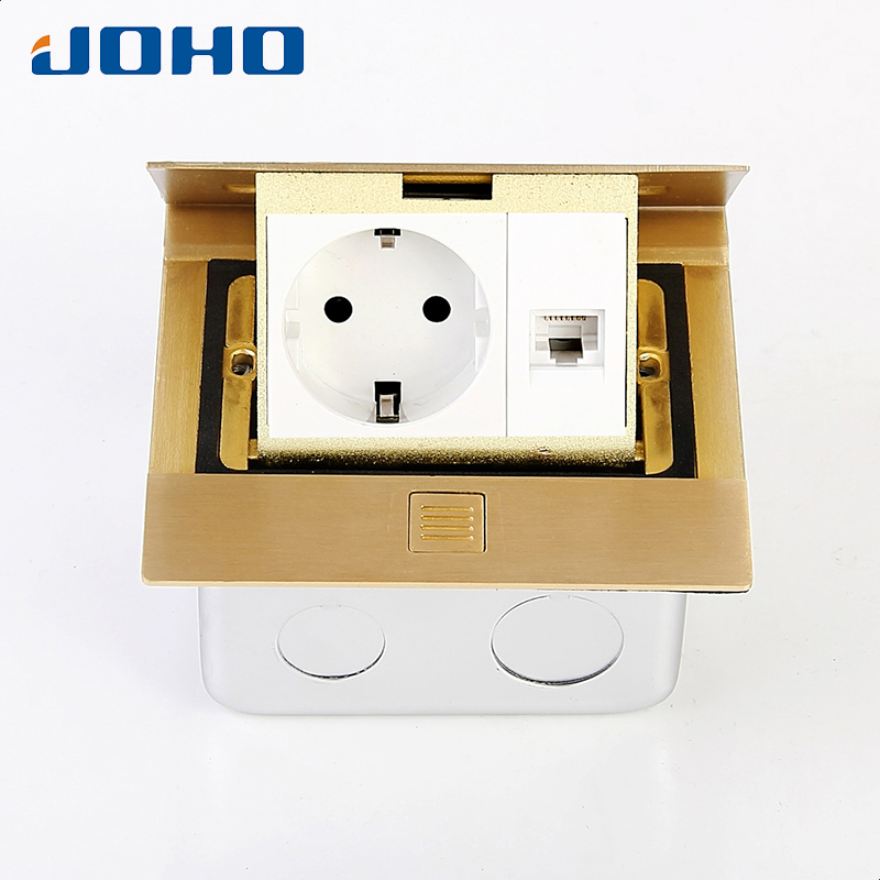 Brass Slow Pop Up Floor Socket Box with 16A European socket and RJ45 data brass slow pop up floor socket box with 15a 125v us socket rj45 computer data