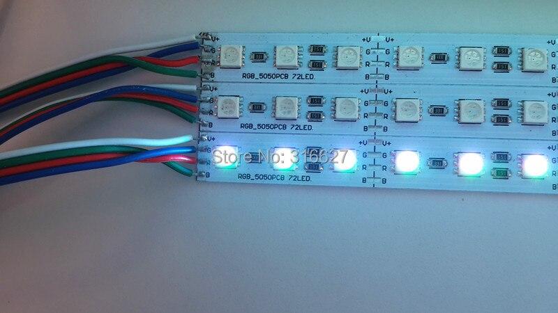 0.5M 10pcs/lot LED RGB Rigid Strip Lighting 12V 5050SMD 72leds/M  Non-waterproof