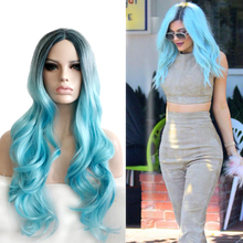 Middle Part Black Blue Ombre Anime Cosplay Wig Synthetic Hair Long Wavy Two Tone Halloween Costume Party Wigs For Women long middle part wavy colormix synthetic wig