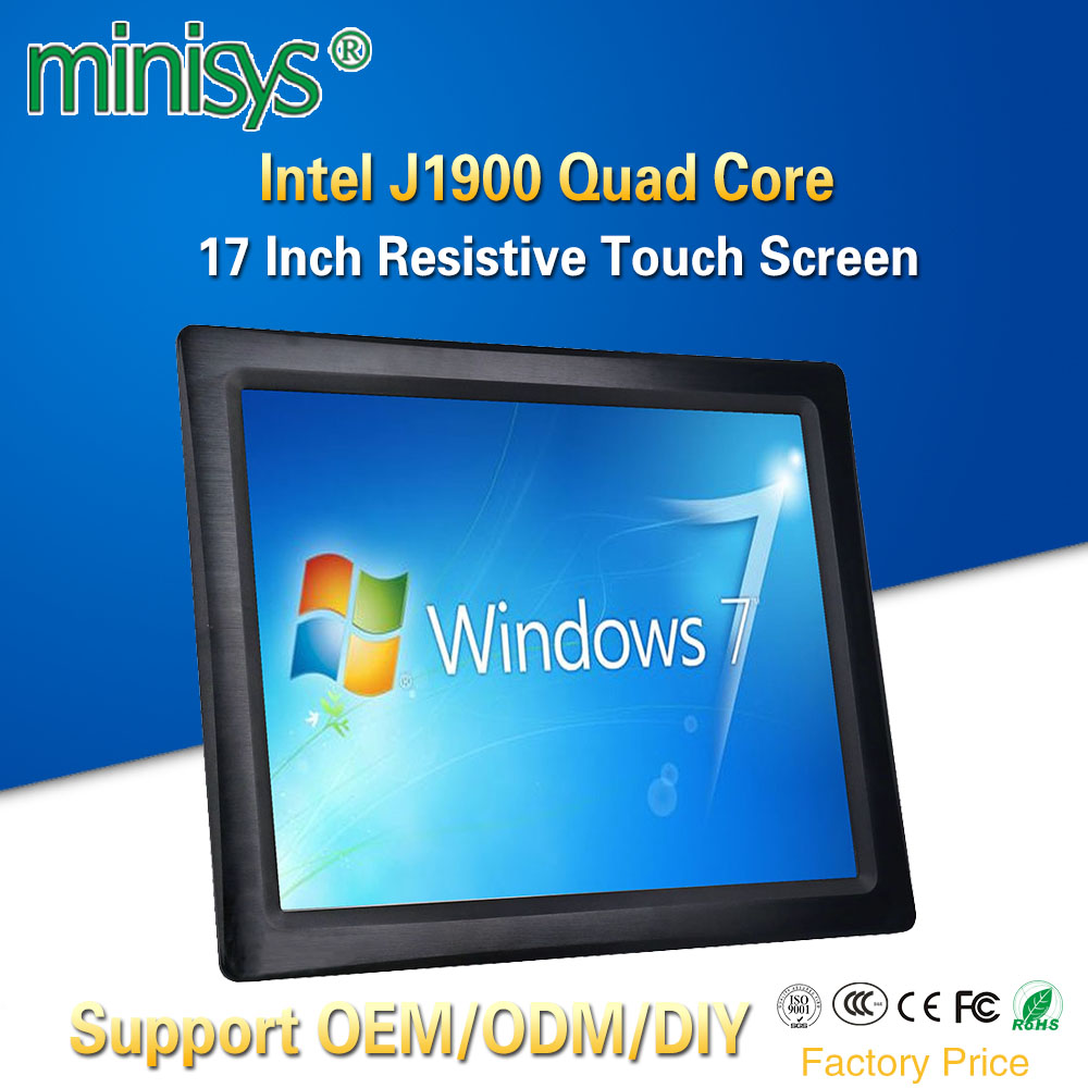 Minisys OEM ODM All-in-one Panel PC Intel J1900 Quad Core 17 Inch Taiwan 5 Wire Resistive Touch Screen Fanless Tablet Computers