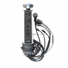 2019 nuevo y caliente vender mesa de reunión 2 universal potencia cat5 1 tel HDMI VGA muebles pop escondidos. hembra con cable