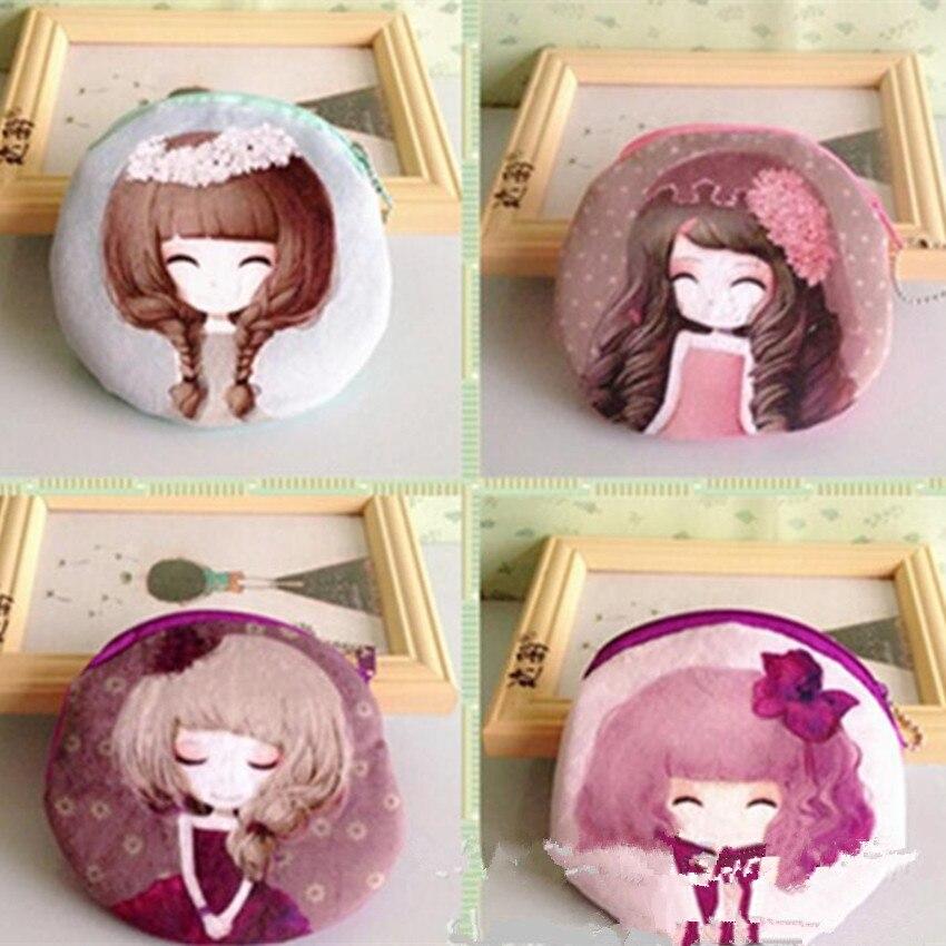 M136 Women Purses Digital Printing Beautiful Girl Plush Cartoon Creative Coin Bag Purse Cloth Girl Gift Wholesale