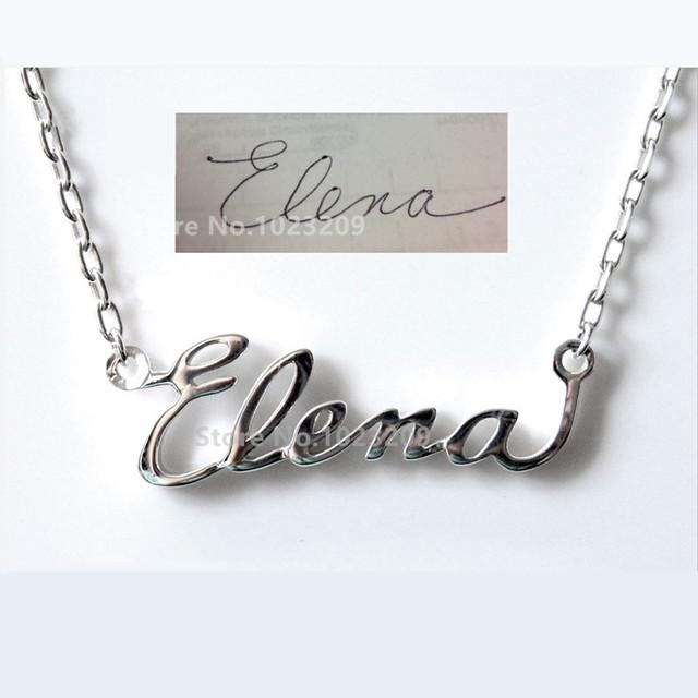 925 nombre collar de plata, firma, personalizada de la escritura a mano, joyería hechos a mano