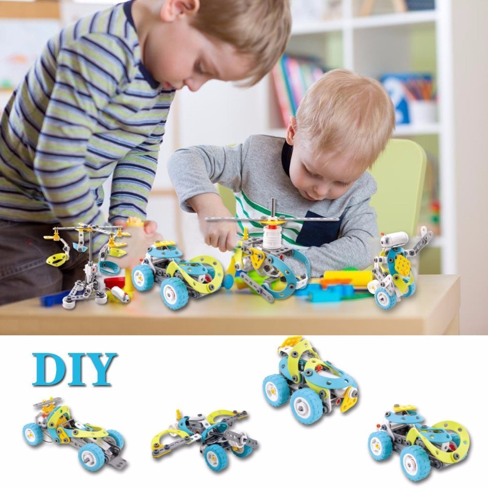 10 In 1 Children Kids Educational Toys Electric Car Building Block Motorized Puzzle Gift