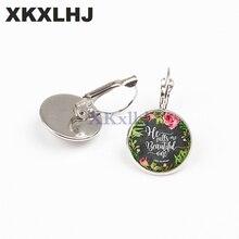 XKXLHJ New Fashion Scripture Earrings Letters Printed Glass Dome Bible Fashion Earrings Women Faith Christian Jewelry недорго, оригинальная цена