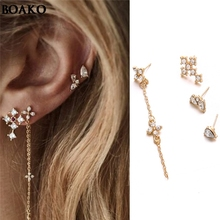 High Quality Earrings 4 pcs Korean TV Star Elegant Crystal Long Cross Drop For Women zircon set of earrings A40