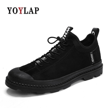 Suede Riding Boots | YOYLAP Men's Boots Autumn Winter Cow Suede Leather Men Waterproof Snow Boots Work Safety Ankle Boots Black