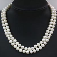 8 9mm natural white freshwater cultured pearl nearround beads necklace for women 2 rows chain choker collar jewelry 18inch B3229