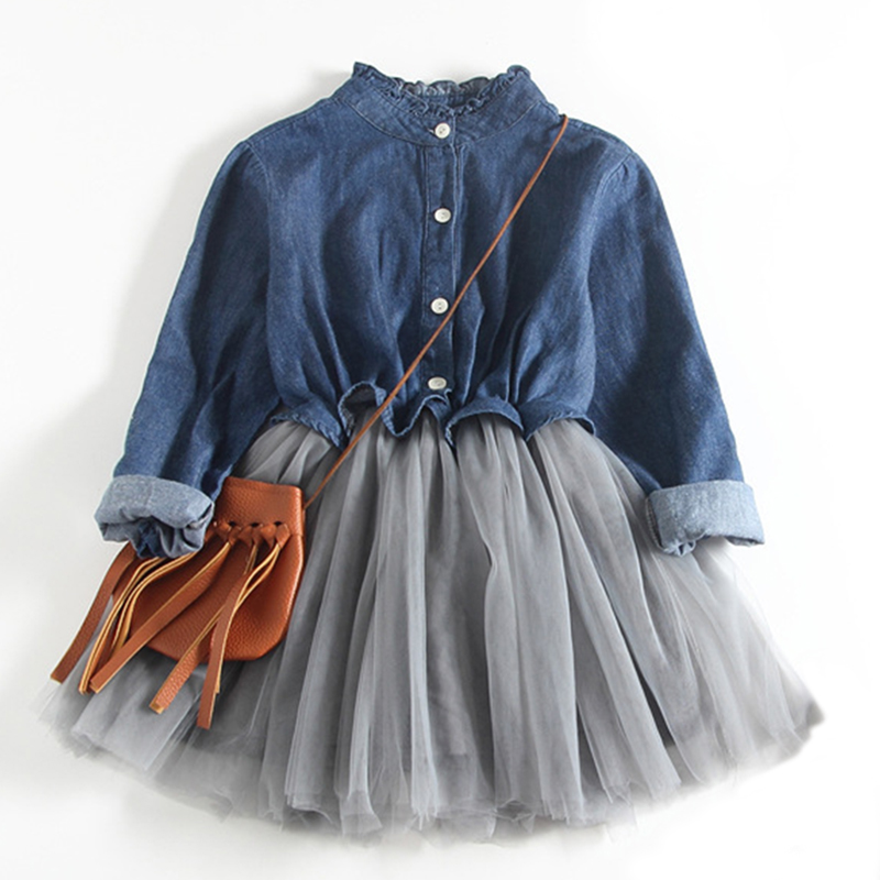 Girls Spring Dress 2018 New Bohemian Style Children Long-Sleeve Clothing Cowboy Dress Design For 2-9T Ball Gown Baby Mesh Dress acthink 2017 new girls formal solid lace dress shirt brand princess style long sleeve t shirts for girls children clothing mc029