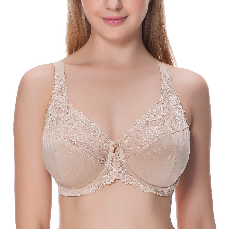 0ef79aaae3d8c Women s Beauty Lace Non Padded Full Figure Underwire Minimizer Bra Plus  Size Bra 34 44 DD E F G H-in Bras from Underwear   Sleepwears on  Aliexpress.com ...