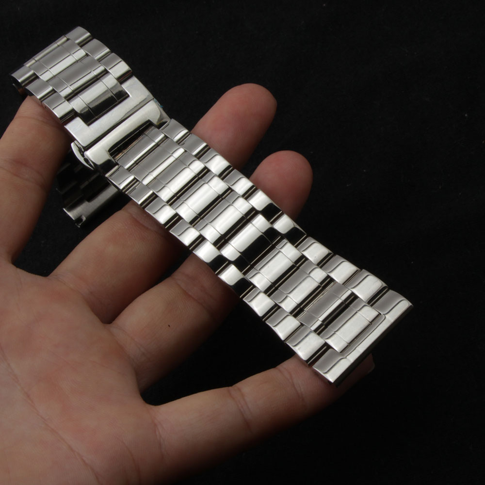 18mm 20mm 22mm 24mm 26mm 28mm 30mm Watchbands Stainless steel Silver butterfly buckle clasp polished metal mens watch strap new solid scrub stainless steel brushed black gold silver rose gold finished watch band clasp buckle watchbands 16 18 20mm 24mm 26mm