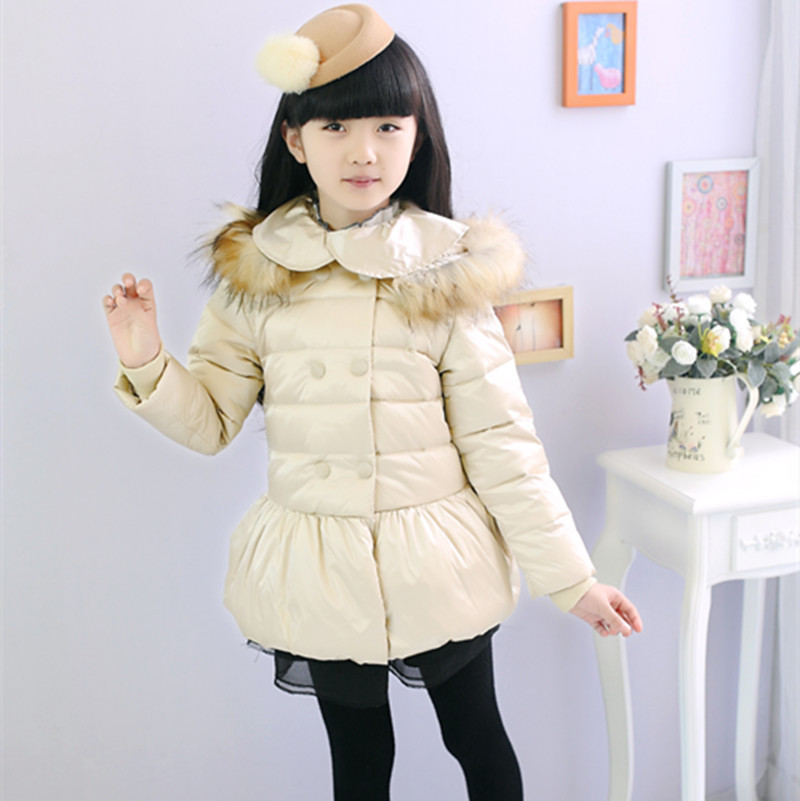 ФОТО Korean Style Girls Long White Down Jacket With Fur Hood Solid Thick Warm Duck Down Clothing Popular Kids Winter Suit