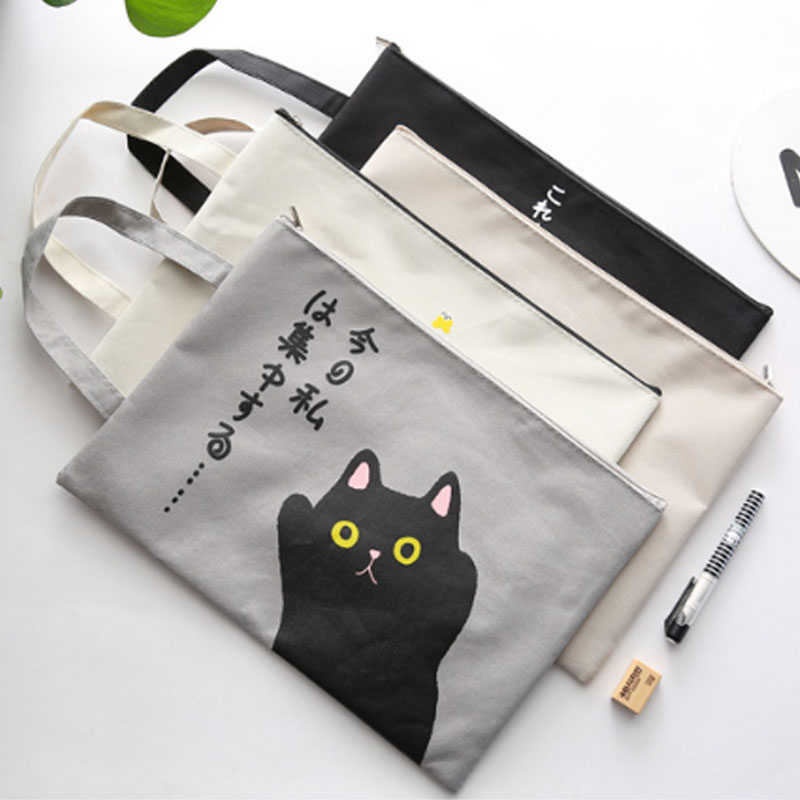 Canvas 1 PC Cartoon Folder Bags Portable Large Capacity Student Gift Stationery Pouch Document Filing Bag