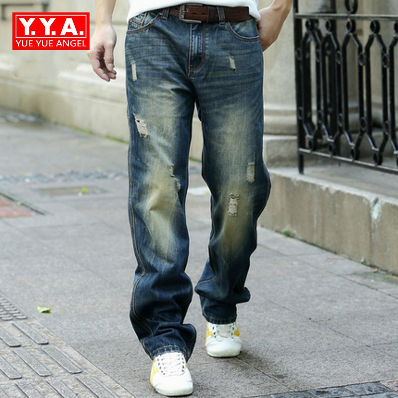 Male Fashion 2018 Straight Loose Fit Jeans For Mens Full Length Hole Ripped Jeans Man Biker Jean Cowboy Pant Men Plus Size afs jeep autumn jeans mens straight denim trousers loose plus size 42 cowboy jeans male man clothing men casual botton