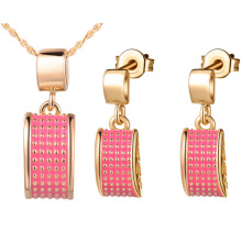 925 silver plated NEW suit made pendant ear Ding square set two color optional end clearance