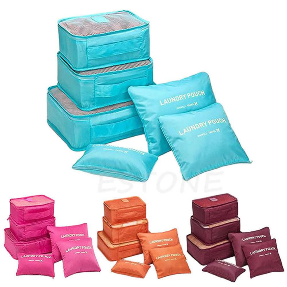 6 Pcs/lot Clothes Storage Bags Packing Cube Travel Clothing Organizer Pouch ...