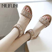 Fashion Rhinestone Metal Wedges Women's Sandals 2019 New Roman Shoes Plus Size 35-42 Comfortable Soft Zipper Casual Ladies
