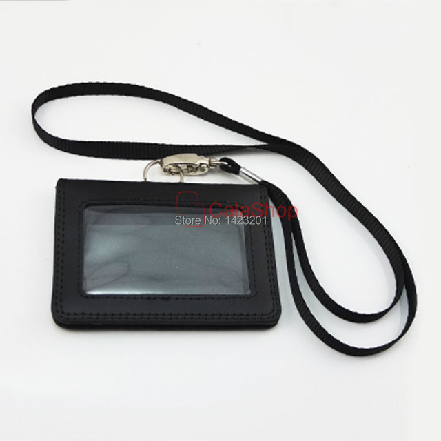 1 Set Lot Genuine Leather Id Card Badge Holder Business Office Horizontal Black With Clasp