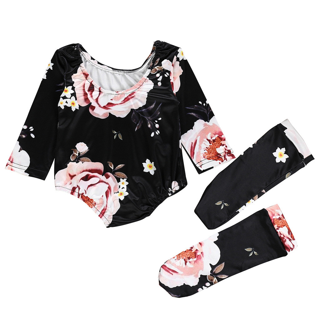 MUQGEW Baby Girl Clothes 2PCS Baby Newborn Girl Floral Romper+Stockings Set Bodysuit Clothes Outfit Dropshipping Roupa Infantil