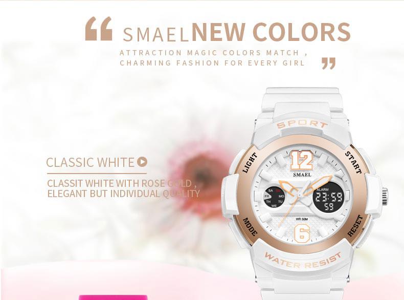 69ade6411d0d Spor Saatler için Kadın SMAEL Bayanlar Saatler Casual LED Dijital Beyaz Saat  Kadın Zarif relojes mujer Kadın Saatler Su Geçirmez