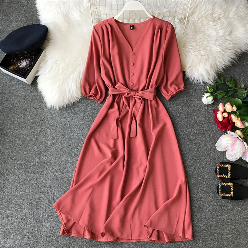 Fashion Spring New V Neck Summer Midi Long Dress Vestido De Festa Evening Party Bandage Women Casual Elegant High Waist Vestidos