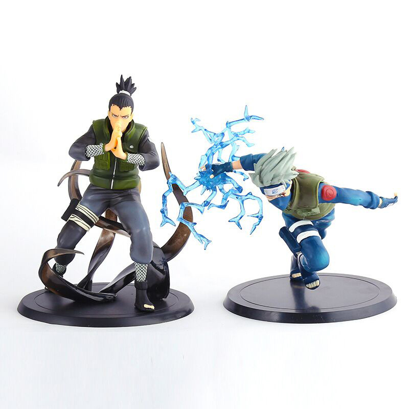 2pcs/lot Hot Japanese Anime Naruto Shippuden Hatake Kakashi & Nara Shikamaru PVC action figure Model Toys Doll Free shipping