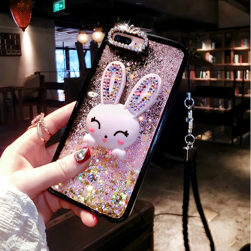 For iPhone 6 6s 7 8 plus X for Samsung galaxy s7 edge s8 s9 plus note 8 bling rabbit heart liquid quicksand lanyard phone case