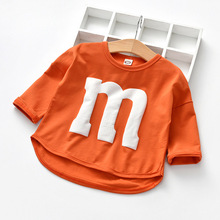 Baby Long Sleeved T-shirt Girl Cotton Spring Autumn Cartoon Letters M Tops Three Colors Candy Toddler Girls T Shirt 1-6 Year Old