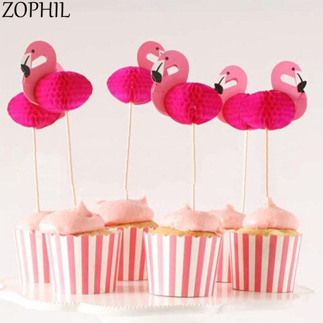 zophil 20pcs flamingo cake topper wedding summer party baking decoration bridal shower supplies events candy bar