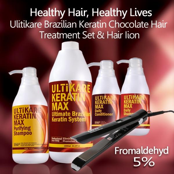 ФОТО ULTIKARE 5pcs/set purifying shampoo+1000ml keratin+daily shampoo and conditioner hair iron brazilian keratin for hair