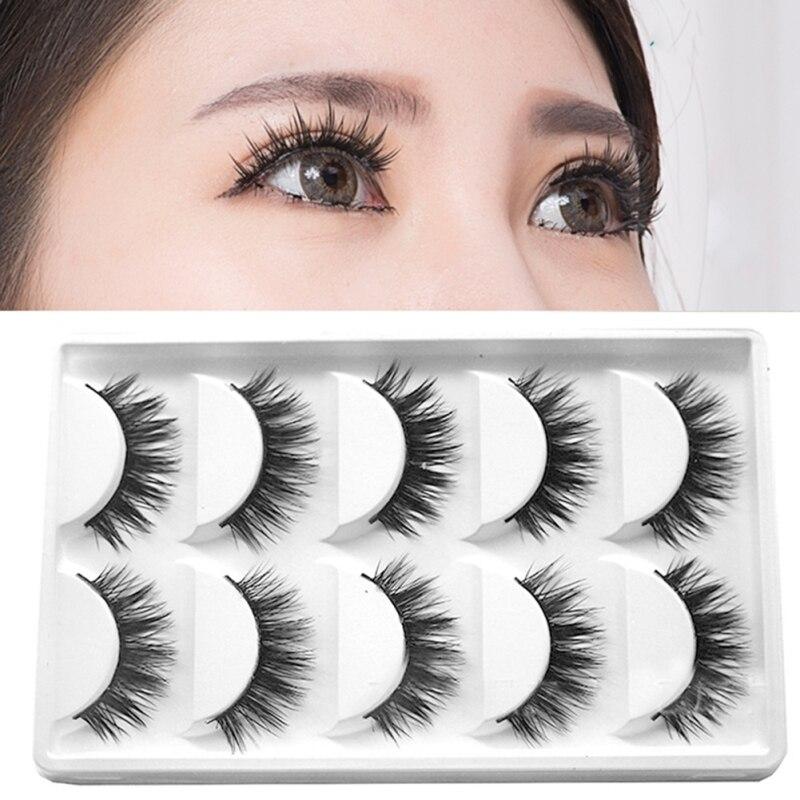 5Pair/Set Double Eyelashes False Eyelashes Eye Lashes Makeup Kit