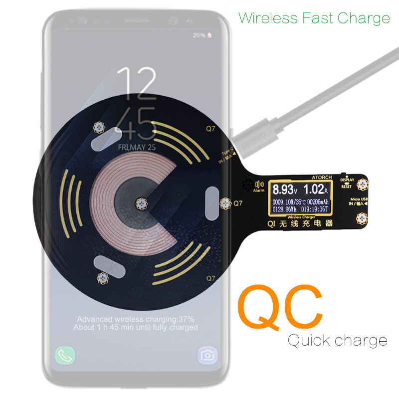 ATORCH Qi Wireless Charger Mobile phone tester for iPhone X 8 Plus Samsung Galaxy S8 S9 S7 usb fast charger lcd tester display for vw teramont 2017 2018 car mount qi wireless charger fast wireless charging accessories for iphone x 8 plus for samsung s7