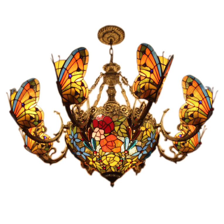 Fumat stained glass chandeliers creative art glass butterfly lamps fumat stained glass chandeliers creative art glass butterfly lamps for living room hotel lights european style led chandeliers in chandeliers from lights aloadofball Image collections