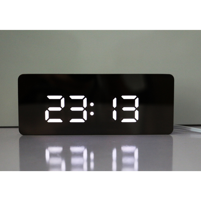 led digital clock with temperature or date display clear mirror face