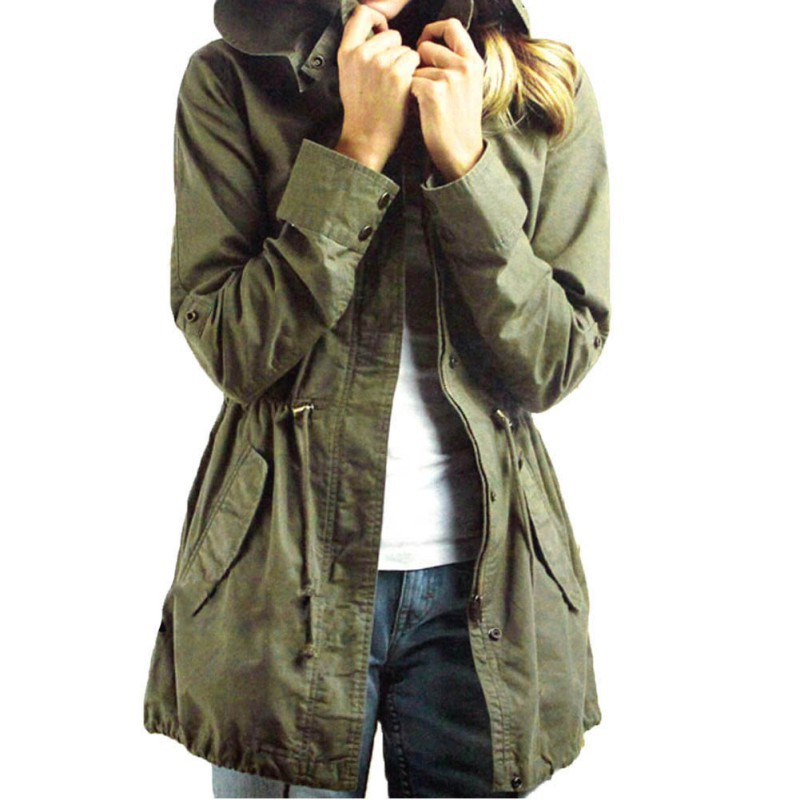 Hot Sell Autumn Spring Winter Womens Army Green Military Hooded Coat Army Green Cotton Blend Jacket
