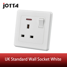 UK standard wall socket with one button led type 13A 250V white British Style wall switch