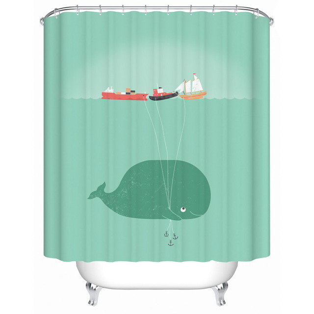 2016 New Naughty Cute Whale Waterproof Shower Curtain Bathroom Curtain  Eco Friendly Bathroom Products Shower